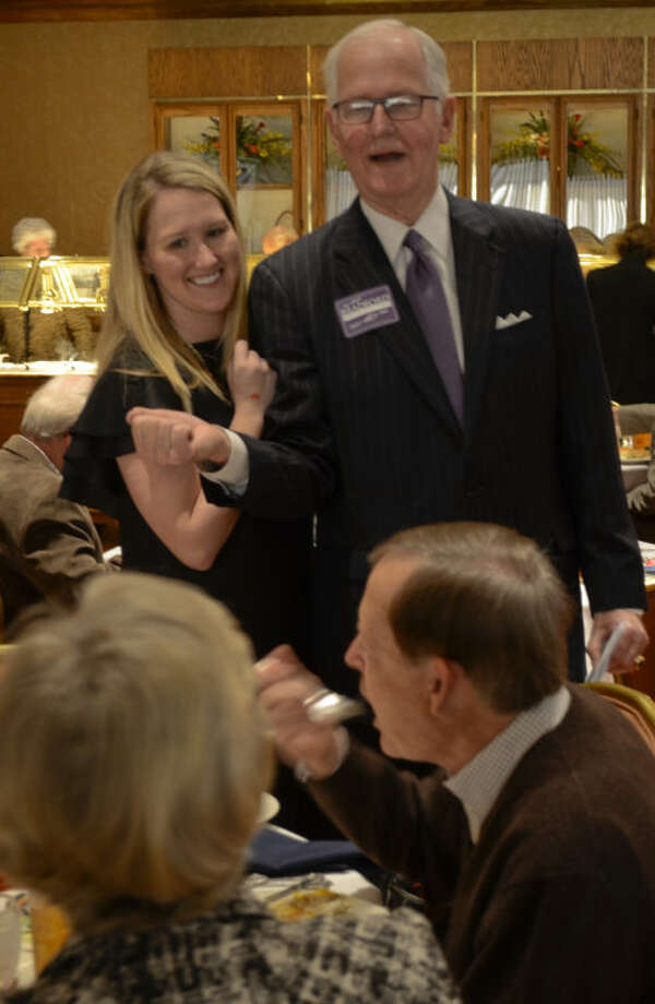 County Judge Mike Bradford and his daughter, Lauren, talk to constituents Wednesday at the Midland County Republican Women's luncheon. Tim Fischer\Reporter-Telegram Photo: Tim Fischer