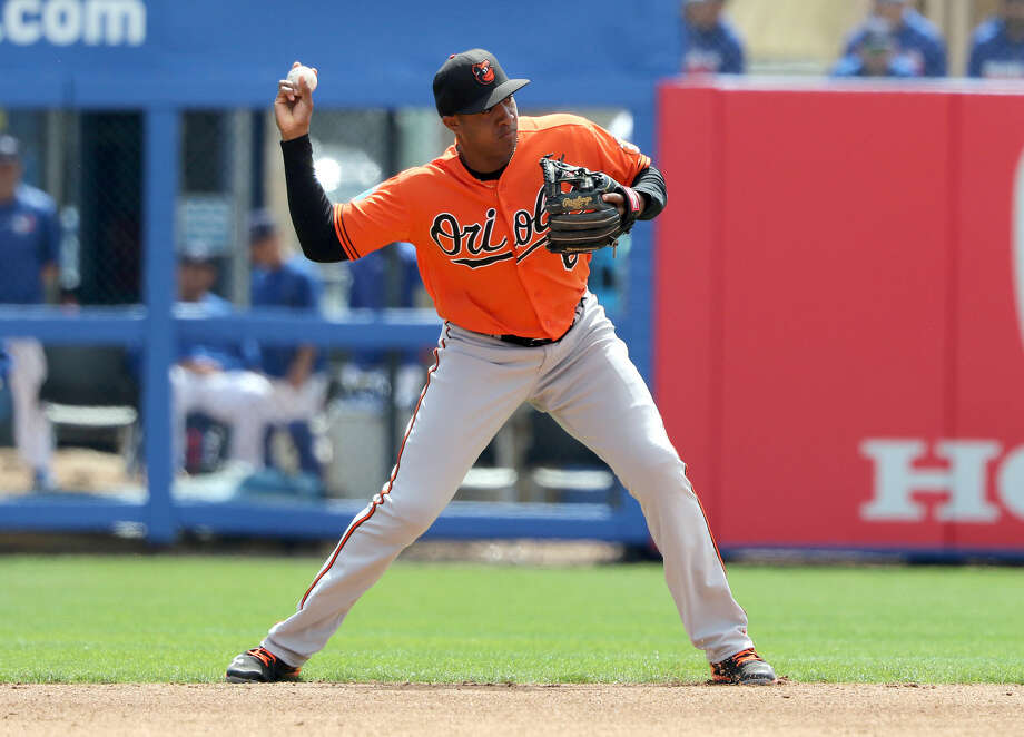 DUNEDIN, FL- MARCH 04: Jonathan Schoop #6 of the Baltimore Orioles makes a play to first base during the game against the Toronto Blue Jays at Florida Auto Exchange Stadium on March 4, 2016 in Dunedin, Florida. (Photo by Justin K. Aller/Getty Images) Photo: Justin K. Aller