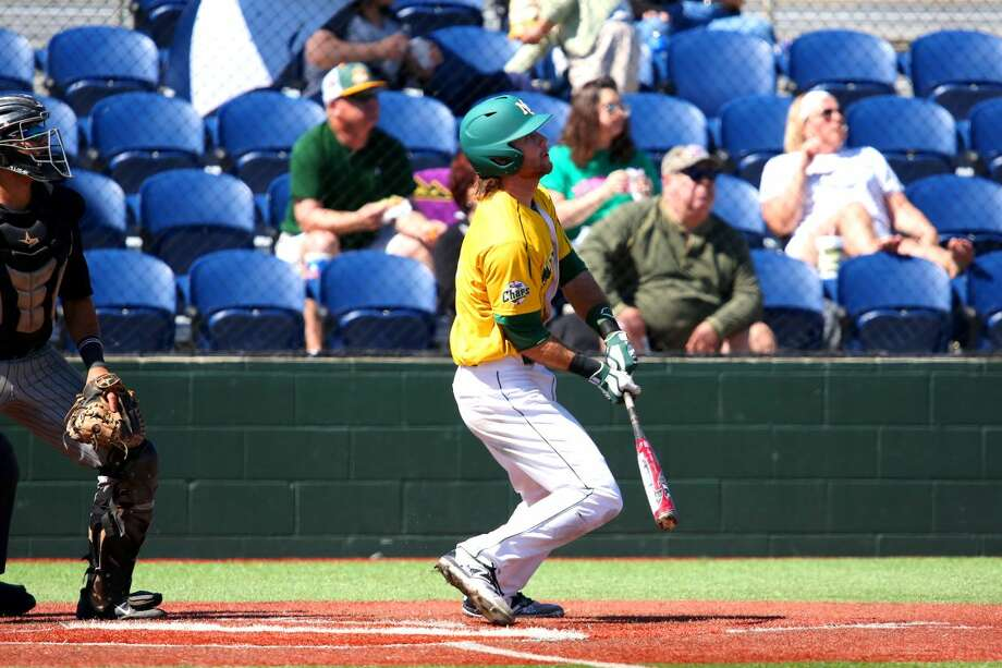 Midland College outfielder Brent Stewart watches the first of his three home runs in an 11-9 victory over Luna Community College Sunday afternoon at Christensen Stadium.   Forrest Allen/Midland College Athletics