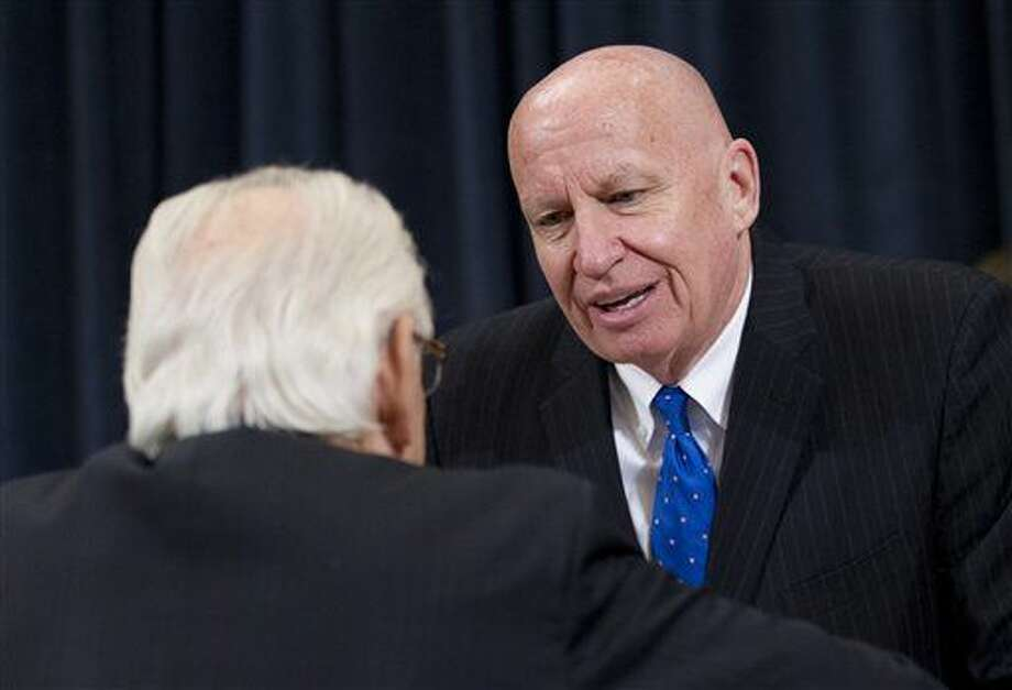 House Ways and Means Committee Chairman Rep. Kevin Brady, R-Texas, right, and Rep. Bill Pascrell, D-N.J., talk before Treasury Secretary Jacob Lew testifies on Capitol Hill in Washington, Thursday, Feb. 11, 2016, before the House Ways and Means Committee hearing on the Treasury Department's fiscal 2017 budget. (AP Photo/Alex Brandon) Photo: Alex Brandon