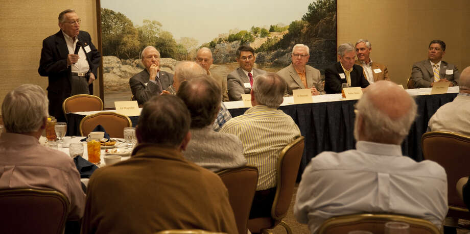 Midland past and present mayors, from left, Ed Magruder, Ernest Angelo, Carroll Thomas, JD Faircloth, Bobby Burns, Mike Canon, Wes Perry and current mayor Jerry Morales, speak Monday, 3-23-15, during the Exchange Club luncheon at the Petroleum Club. Tim Fischer\Reporter-Telegram Photo: Tim Fischer