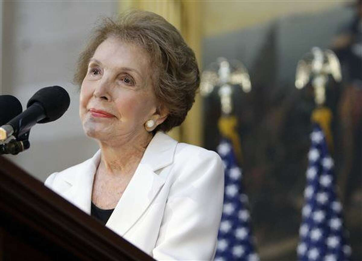 FILE - In this June 3, 2009, file photo, former first lady Nancy Reagan speaks in the Capitol Rotunda in Washington, during a ceremony to unveil a statue of President Ronald Reagan. The former first lady has died at 94, The Associated Press confirmed Sunday, March 6, 2016. (AP Photo/Alex Brandon, File)
