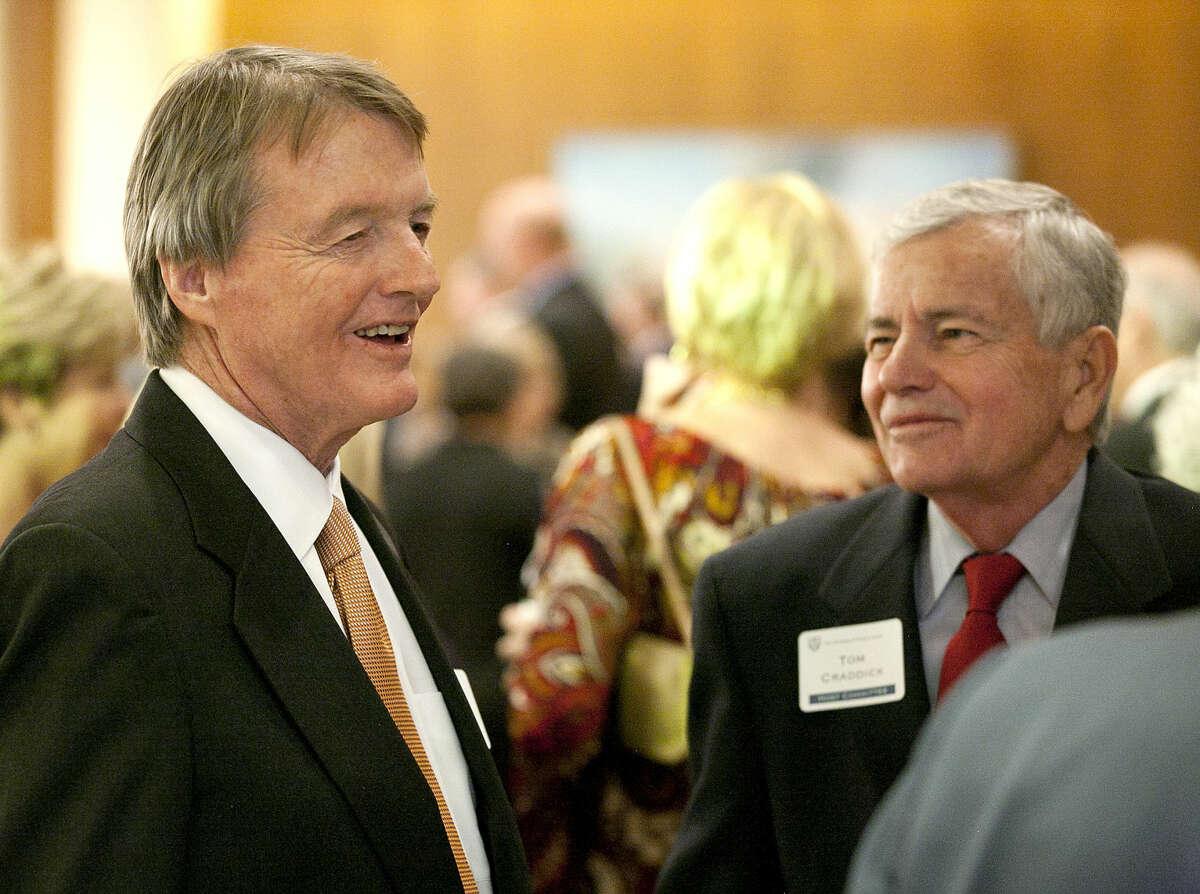 UT Austin President Bill Powers talks with Tom Craddick of the Texas House of Representatives on Thursday, Feb. 19, 2015 at the Petroleum Club in Midland. James Durbin/Reporter-Telegram