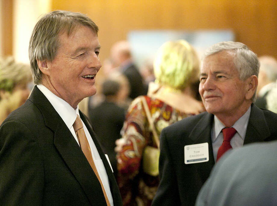 UT Austin President Bill Powers talks with Tom Craddick of the Texas House of Representatives on Thursday, Feb. 19, 2015 at the Petroleum Club in Midland. James Durbin/Reporter-Telegram Photo: James Durbin