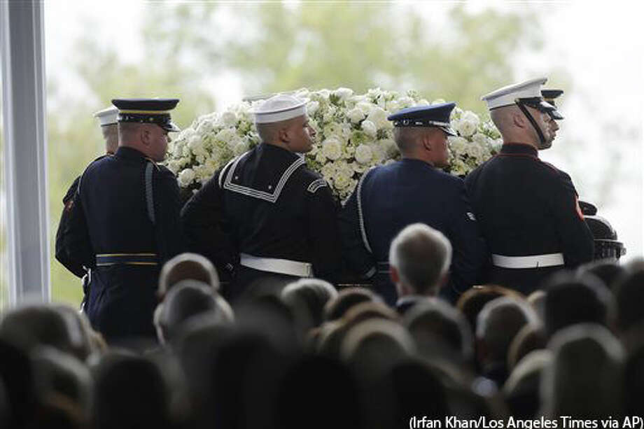 Pallbearers carry the casket of former First Lady Nancy Reagan during her funeral service at the Ronald Reagan Presidential Library, Friday, March 11, 2016 in Simi Valley, Calif. (Irfan Khan/Los Angeles Times via AP) NO FORNS; NO SALES; MAGS OUT; ORANGE COUNTY REGISTER OUT; LOS ANGELES DAILY NEWS OUT; INLAND VALLEY DAILY BULLETIN OUT; MANDATORY CREDIT, TV OUT Photo: Irfan Khan