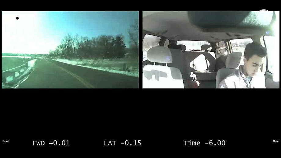 In this frame grab from a video provided by The AAA Foundation for Traffic Safety, a teen driver texts as his vehicle moves to the opposite side of the road as he drives distracted. Distractions, especially talking with passengers and using cellphones, play a far greater role in car crashes involving teen drivers than has been previously understood, according to compelling new evidence cited by safety researchers who analyzed nearly 1,700 videos that capture the actions of teen drivers in the moments before a crash. (AP Photo/The AAA Foundation for Traffic Safety) Photo: Uncredited