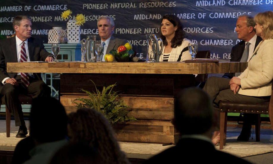 The Midland Chamber of Commerce hosted the State of Education luncheon Wednesday, 3-25-15, with a panel discussion with Rick Davis, MISD board of trustees, Tim Leach, with Concho Resources, moderator Laura Roman, Clarence Scharbauer III, Scharbauer Foundation and Susan Spratlen, Pioneer Natural Resources. Tim Fischer\Reporter-Telegram Photo: Tim Fischer