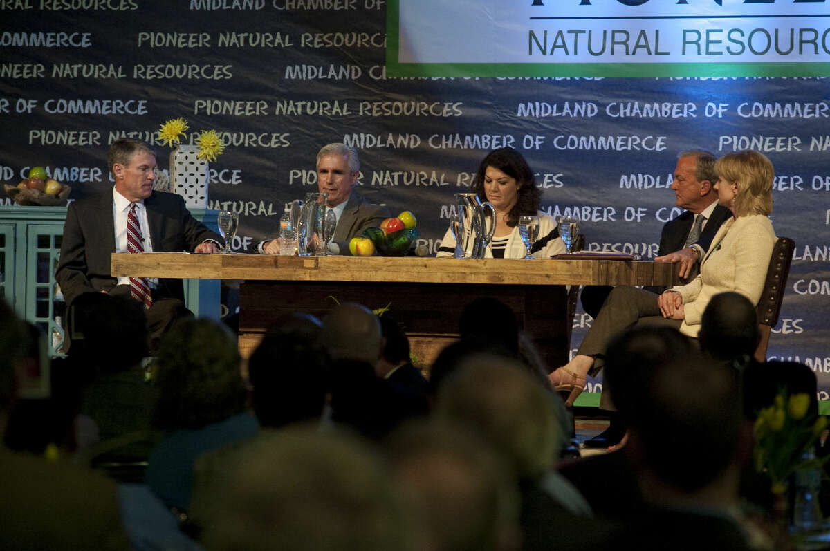 The Midland Chamber of Commerce hosted the State of Education luncheon Wednesday, 3-25-15, with a panel discussion with Rick Davis, MISD board of trustees, Tim Leach, with Concho Resources, moderator Laura Roman, Clarence Scharbauer III, Scharbauer Foundation and Susan Spratlen, Pioneer Natural Resources. Tim Fischer\Reporter-Telegram