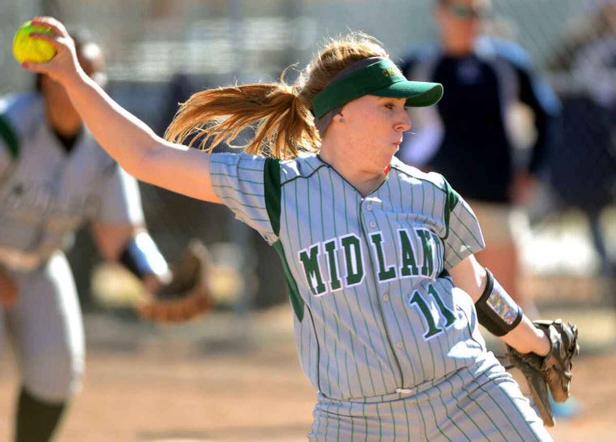 Midland College's Shelby Weissenbach (11) pitches against Otero JC in the Midland College Classic tournament in February at Freddie Ezell Softball Complex. James Durbin/Reporter-Telegram