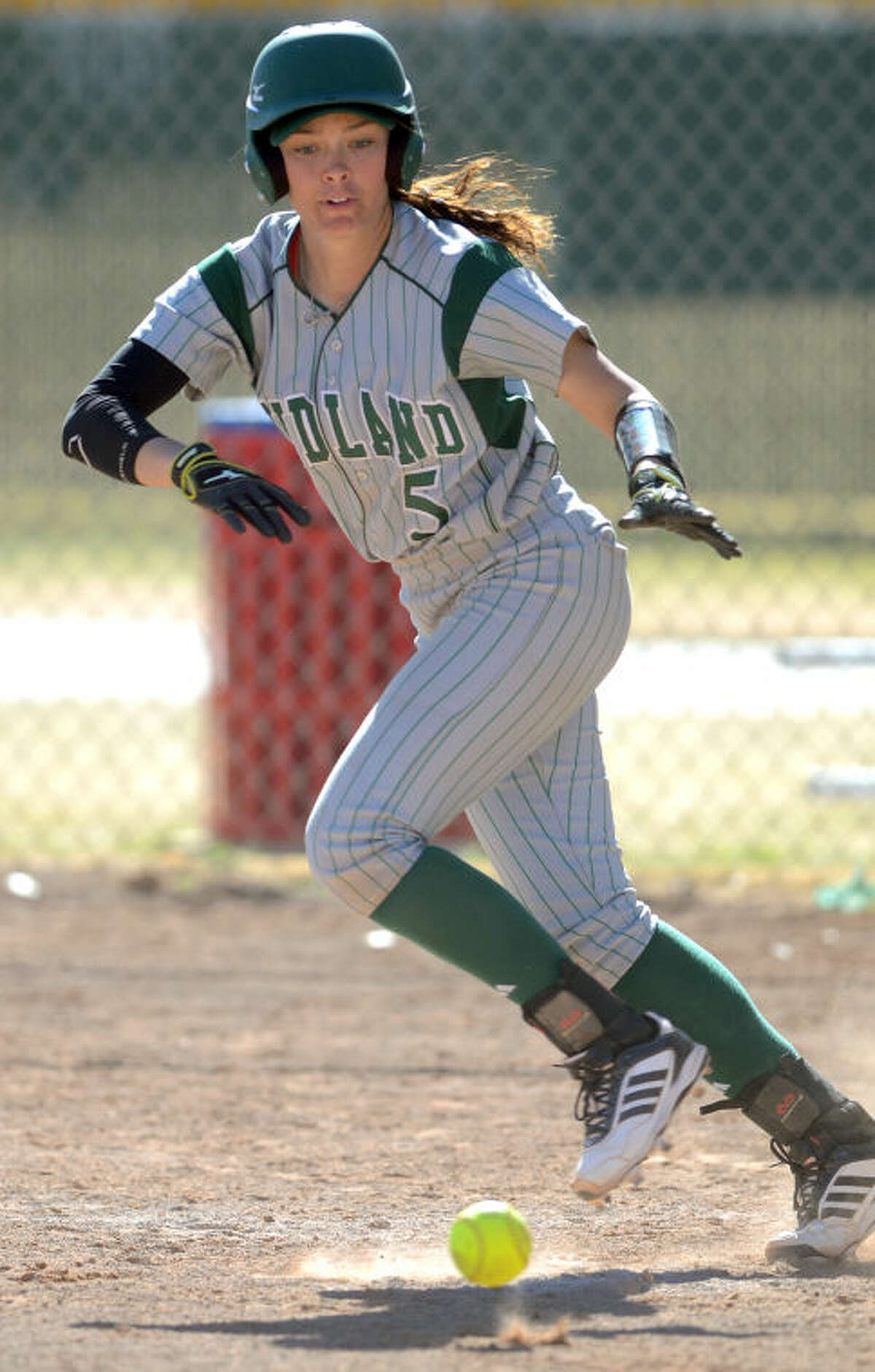 Midland College's Taylor Daniels (5) runs down the baseline after bunting against Otero JC in the Midland College Classic tournament Feb. 14 at Freddie Ezell Softball Complex. James Durbin/Reporter-Telegram