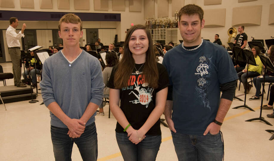 Midland High band members Sustin Grammer, percussion, Abby Barto, trumpet and Jaren Stump, Eb contra bass clarinet, seen Wednesday, 3-18-15, were all selected to All-State honors in their instrument. Tim Fischer\Reporter-Telegram Photo: Tim Fischer