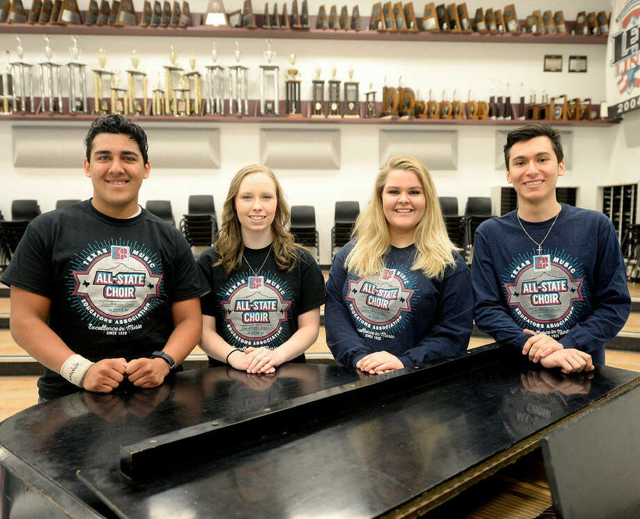 Lee All-state Choir members from left, Joseph Subia, Sabrina Roberts, Savannah Waltenbaugh, and Aaron Dominguez, in portrait Thursday, March, 3, 2016, in the Lee choir room. James Durbin/Reporter-Tele­gram Photo: James Durbin/