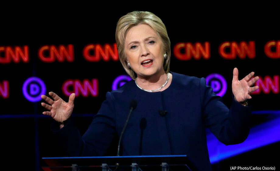 Democraticpresidential candidate, Hillary Clinton makes a point during aDemocraticpresidential primarydebateat the University of Michigan-Flint, Sunday, March 6, 2016, in Flint, Mich. (AP Photo/Carlos Osorio)