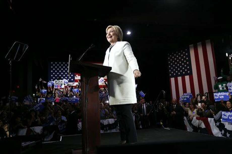 Democratic presidential candidate Hillary Clinton addresses supporters at her Super Tuesday election night rally in Miami, Tuesday, March 1, 2016. (AP Photo/Gerald Herbert) Photo: Gerald Herbert