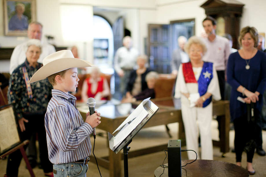 Daughters of the Republic of Texas essay contest winner Cal Heidelberg reads his essay during the Texas Independence Day celebration Wednesday, March 2, 2016, at the Haley Library. James Durbin/Reporter-Telegram Photo: James Durbin
