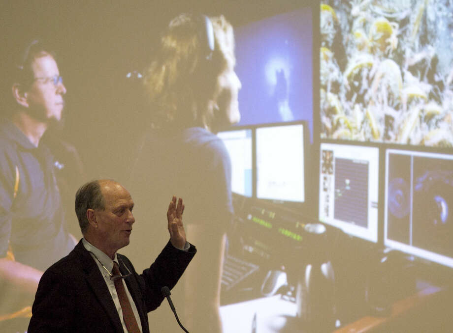 Robert Ballard, oceanographic explorer and discoverer of the Titanic wreck, speaks during a fundraiser luncheon for the West Texas Geology Foundation on Wednesday, March 25, 2015. James Durbin/Reporter-Telegram Photo: James Durbin