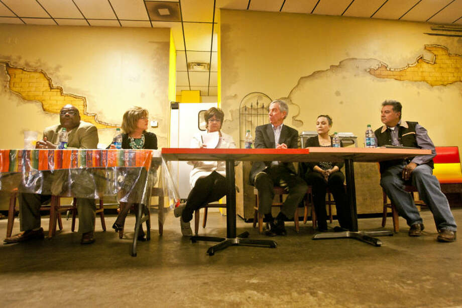 A candidate forum was held Tuesday at Javi's Mexican Restaurant. Candidates from left, Billy Johnson, running for his current seat as Precinct 3 Justice of the Peace, Kathy Reeves running for County Judge, Karen Hood, interim tax assessor-collector is running for a permanent position as tax assessor-collector, Mike Canon, former Midland mayor is running for State Senate District 31, Susan Rayos is running for Precinct 3 Justice of the Peace and Manny Natividad running for tax assessor-collector. James Durbin/Reporter-Telegram Photo: JAMES DURBIN