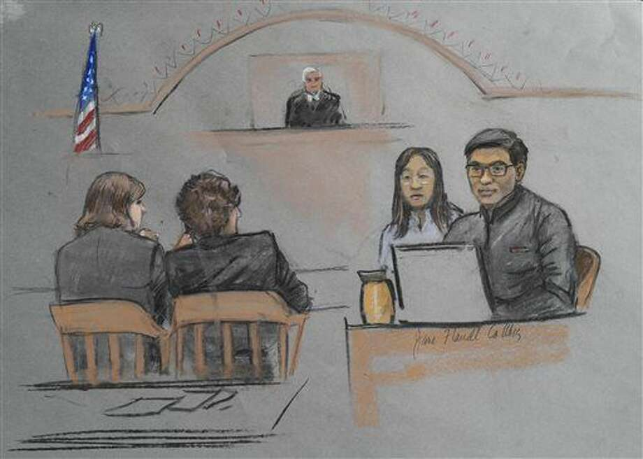 "In this courtroom sketch, Dun Meng, far right, testifies with a translator at his side during the federal death penalty trial of Boston Marathon bombing suspect Dzhokhar Tsarnaev in Boston, Thursday, March 12, 2015. Meng described his harrowing ride at gunpoint with the Boston Marathon bombers and the moment he made ""the most difficult decision"" of his life to bolt from the car. Tsarnaev is charged with conspiring with his brother to place two bombs near the marathon finish line in April 2013, killing three and injuring more than 260 people. (AP Photo/Jane Flavell Collins) Photo: Jane Flavell Collins"