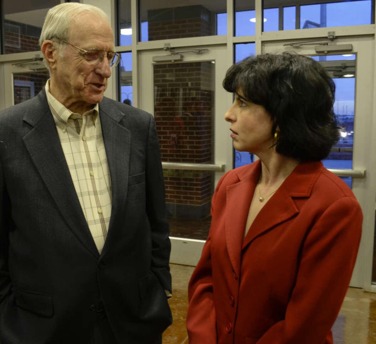 Ernie Angelo talks with Christi Craddick, Texas Railroad Commissioner, Monday evening at the annual Bush Day Dinner. Tim Fischer\Reporter-Telegram