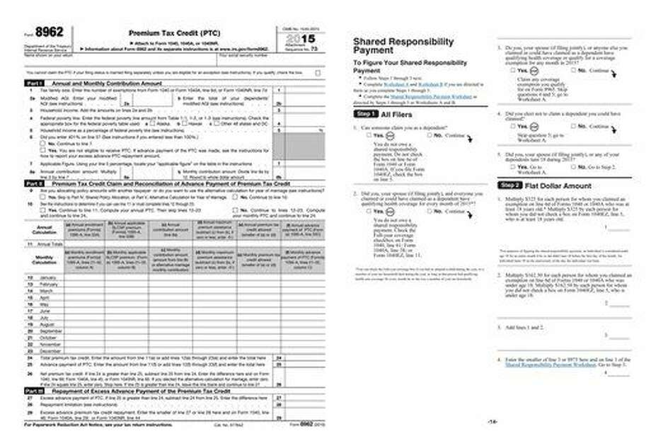 These images provided by the IRS shows Premium Tax Credit (PTC) form 8962, left, and the Shared Responsibility Payment page from form i8965. Many people who went without health insurance last year are now seeing fines more than double under President Barack Obama's health care law, tax preparation company H&R Block said Tuesday, March 8, 2016. (IRS via AP) Photo: Uncredited