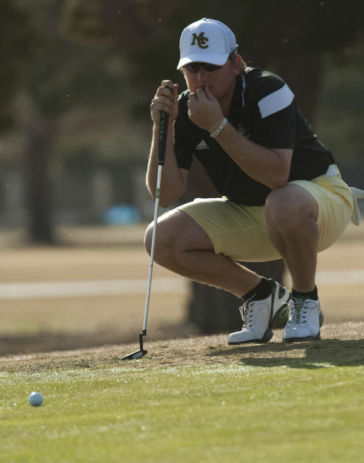 Midland College's Lucas McCubbin checks his lines as he redies to putt Monday, 3-16-15, at Greentree Country Club during the opening round of the Omega Treating Chemicals Invitational. Tim Fischer\Reporter-Telegram Photo: Tim Fischer