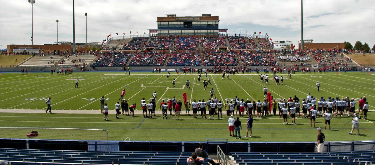 Texas Tech spring football practice Saturday at Grande Communications Stadium. James Durbin/Reporter-Telegram
