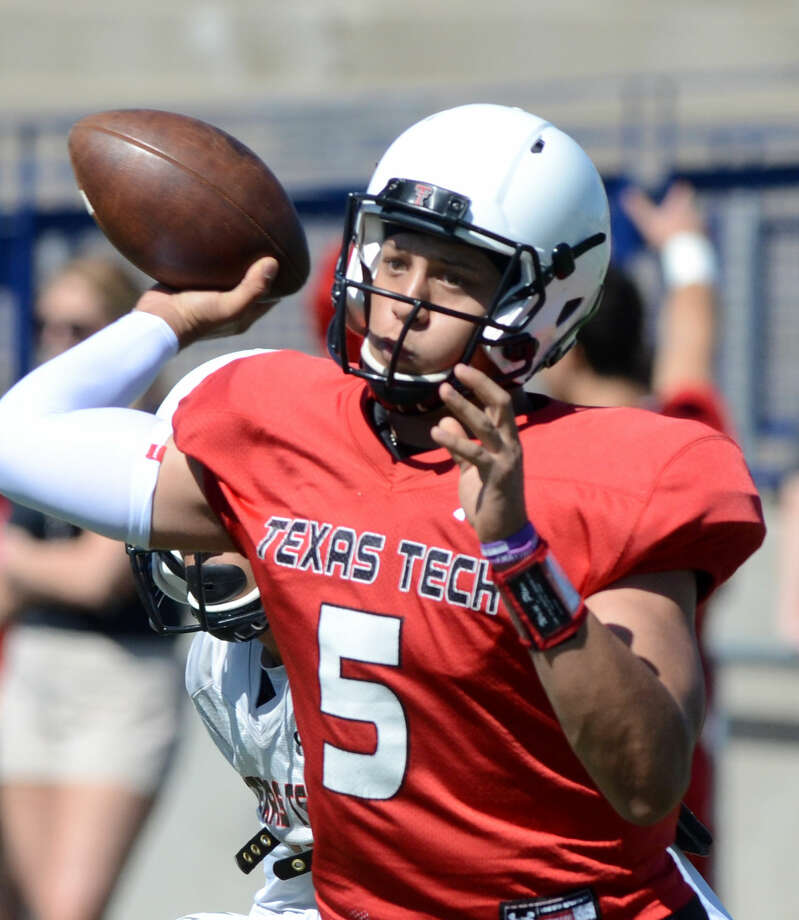Texas Tech quarterback Patrick Mahomes (5) during the spring scrimmage on Saturday, March 28, 2015, at Grande Communications Stadium. James Durbin/Reporter-Telegram Photo: James Durbin