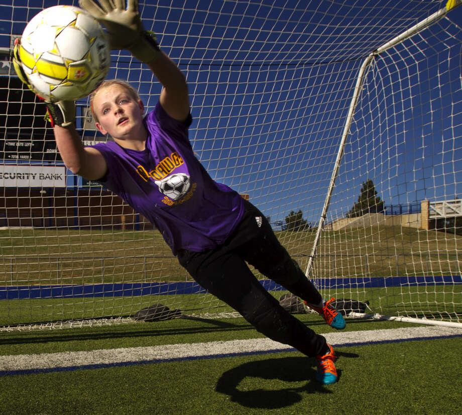 Midland High girls soccer goal keeper Caitlyn Terebessy in portrait Tuesday, March 24, 2015 at Grande Communications Stadium. James Durbin/Reporter-Telegram Photo: James Durbin
