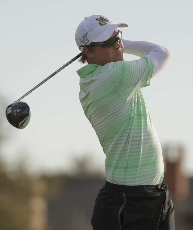 Midland College's Stefan Cronje follows his tee shot Monday 03-14-16 at Greentree Country Club during the first day of the Omega Treating Chemical Invitaional. Tim Fischer\Reporter-Telegram