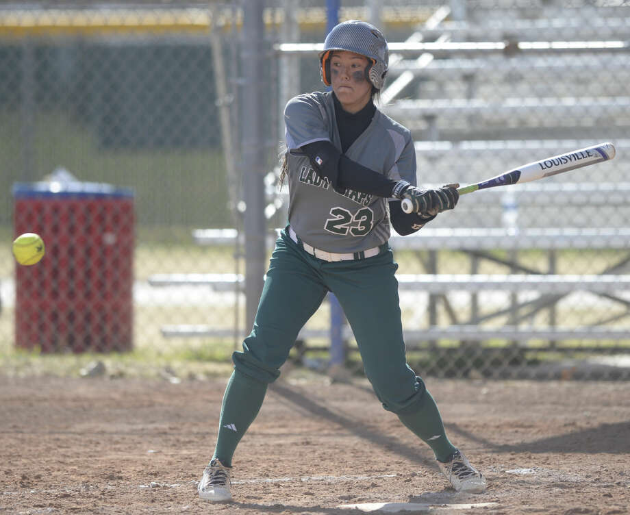 Midland College's Roblynn Kami swings against Barton County College on Saturday, Feb. 13, 2016, at Freddie Ezell Softball Complex. James Durbin/Reporter-Telegram Photo: James Durbin