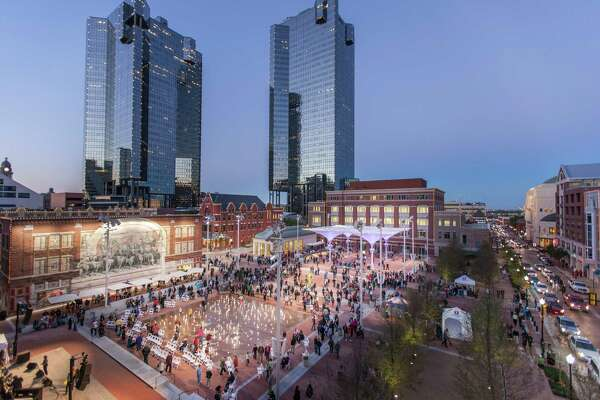 The plaza in Fort Worth's Sundance Square features live music and other performances, making it a gathering spot in the evenings.