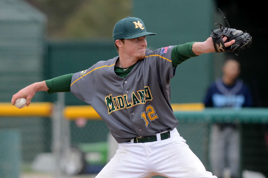 Midland College's Dustin Angiel pitches against Odessa College on Saturday, April 4, 2015, at Christensen Stadium. James Durbin/Reporter-Telegram Photo: James Durbin