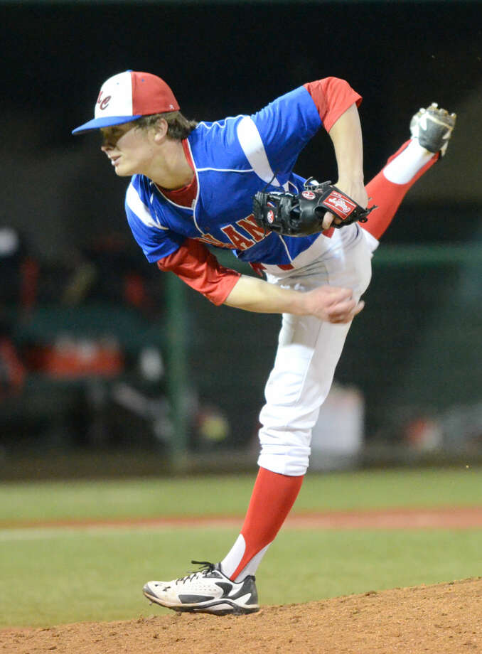 Midland Christian's Grant Little pitches against Fort Worth Christian on Friday, March 20, 2015, at Christensen Stadium. James Durbin/Reporter-Telegram Photo: James Durbin