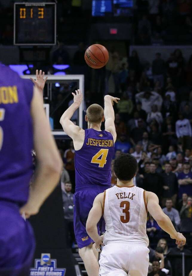Northern Iowa guard Paul Jesperson shoots a buzzer-beater to win the game for Northern Iowa against Texas in first-round men's college basketball game in the NCAA Tournament, Friday, March 18, 2016, in Oklahoma City. Northern Iowa won 75-72. (AP Photo/Sue Ogrocki)  Photo: Sue Ogrocki | Associated Press