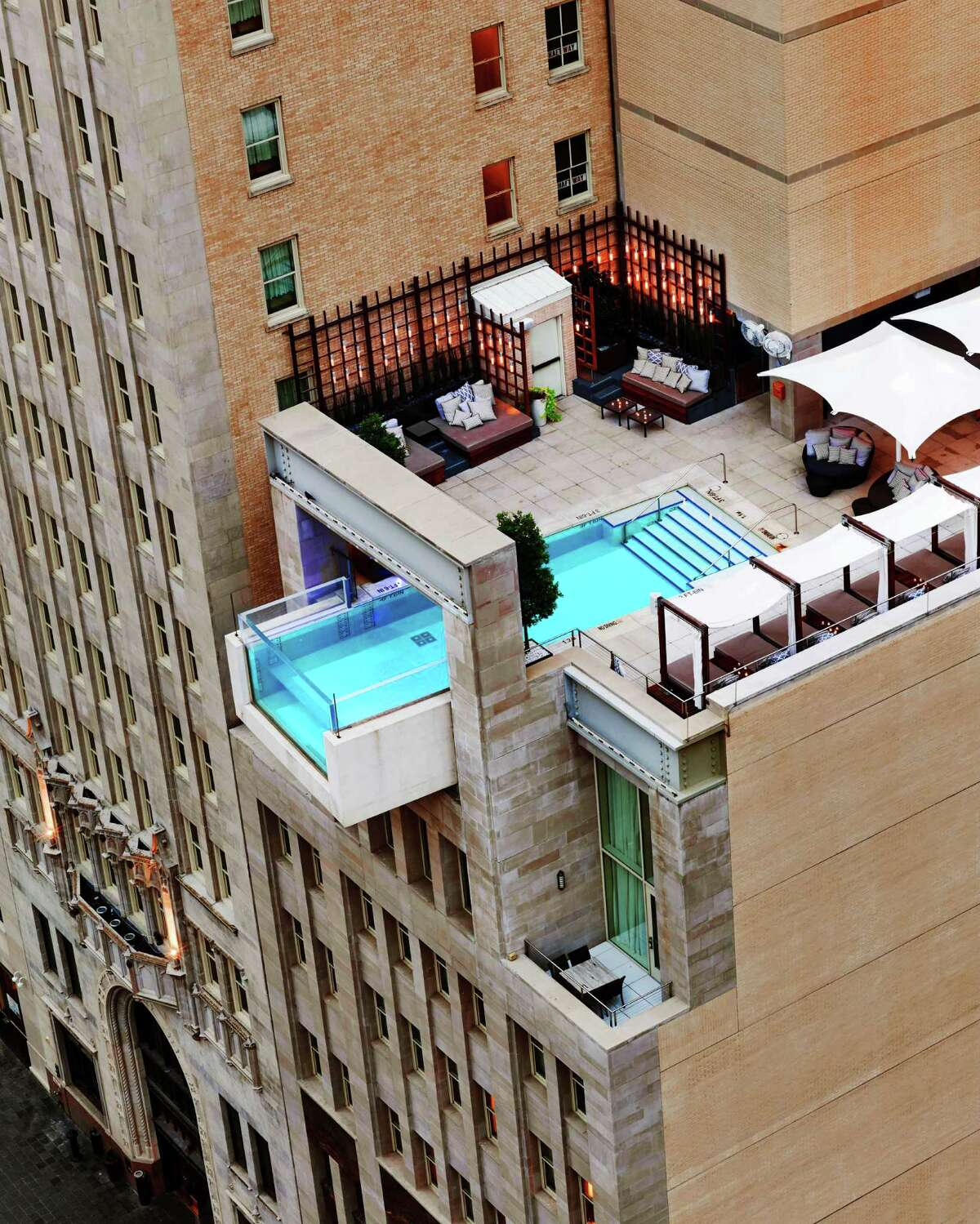 The Joule's rooftop pool extends past the building's edge, giving swimmers the sensation of swimming out into the air.
