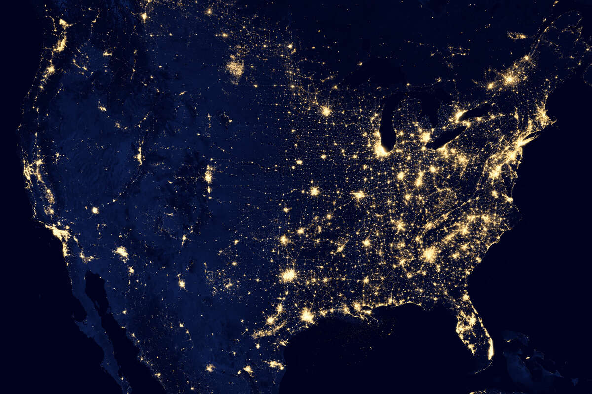 NASA satellite imagery from 2012 shows light from cities and oil and gas operations in Texas.