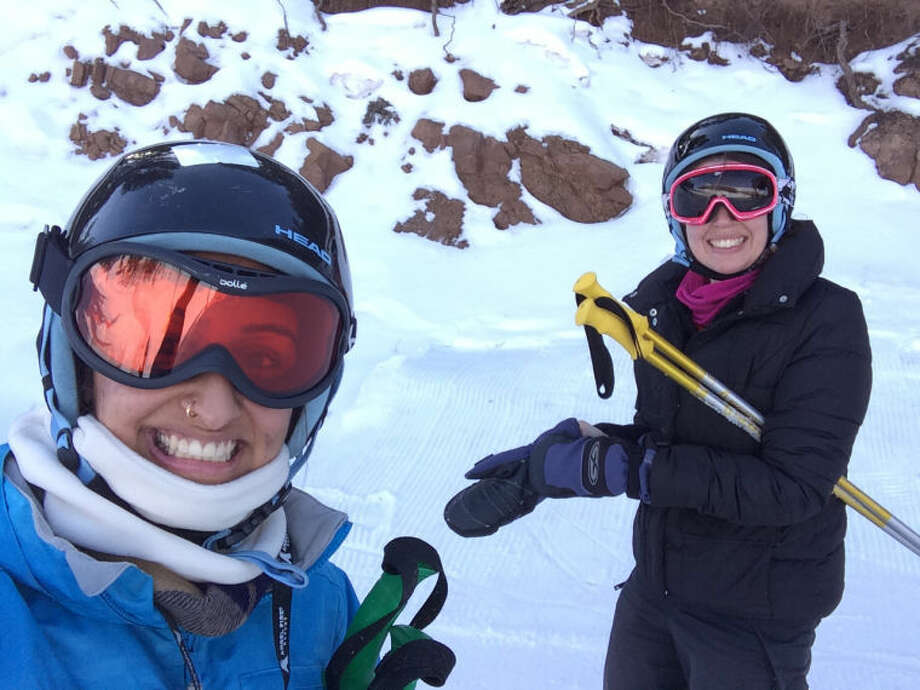 Features writer Ragini Venkatasubban and former Reporter-Telegram employee Audrie Palmer ski the bunny slopes at Angel Fire Resort.