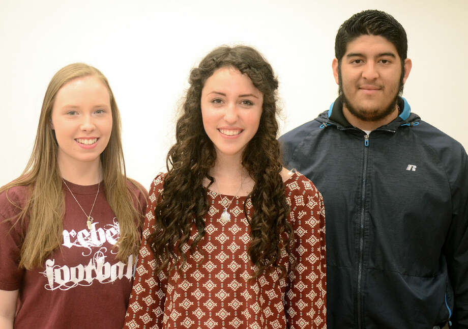 Lee High all-state choir students from left Sabrina Roberts, Nakita Harris and Gilbert Espinoza in portrait Wednesday, March 18, 2015, at the Lee High choir room. James Durbin/Reporter-Telegram Photo: James Durbin