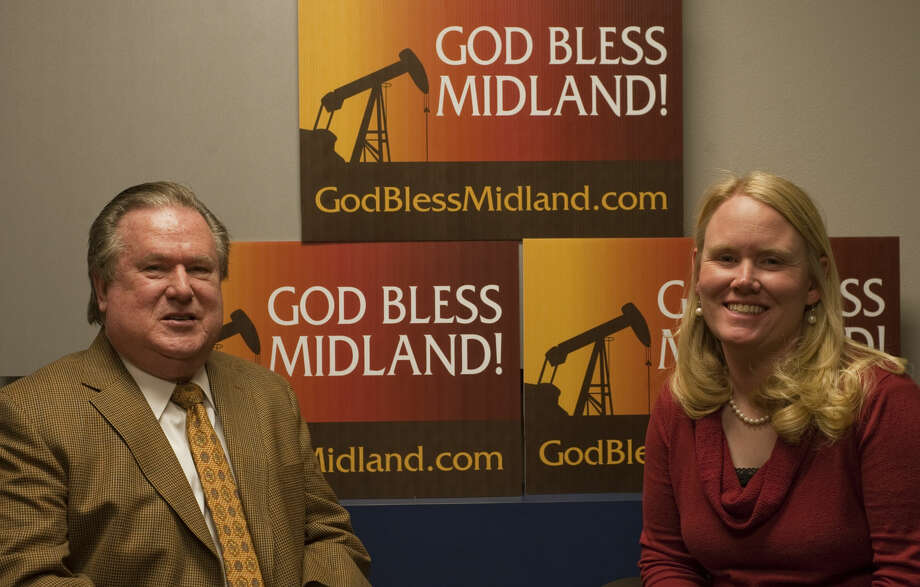 Pastor Tim Walker and Kaci Rybolt, First United Methodist Church director of God Bless Midland talk about reviving the program Tuesday, 2-17-15. Tim Fischer\Reporter-Telegram Photo: Tim Fischer