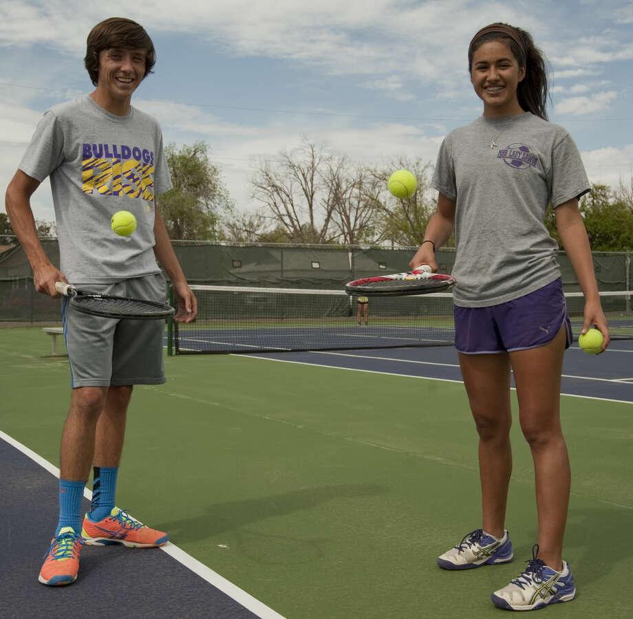 Midland High doubles team Brandt Schneider and Hannah Rey Monday, 4-6-15. Tim Fischer\Reporter-Telegram Photo: Tim Fischer