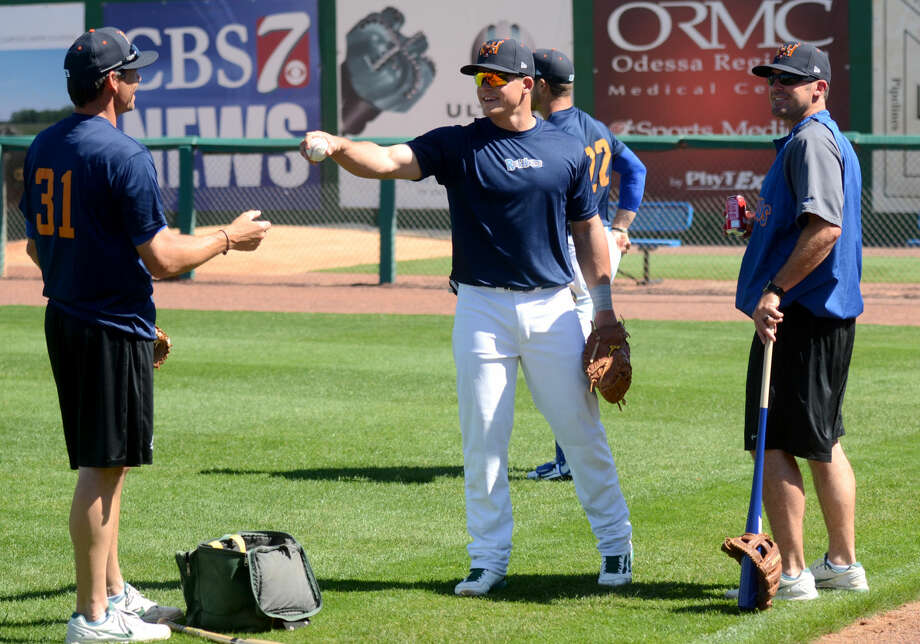 Rockhounds pitchers warm up during RockHounds Media Day on Tuesday, April 7, 2015, at Security Bank Ballpark. James Durbin/Reporter-Telegram Photo: James Durbin