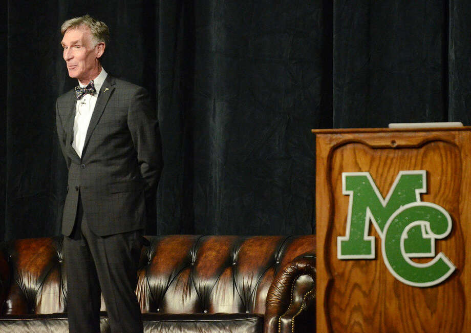 Bill Nye, educator and television presenter, speaks at Midland College on Thursday, March 17, 2016, as part of the Davidson Distinguished Lecture Series. James Durbin/Reporter-Tele­gram Photo: James Durbin/Reporter-Tele­gram