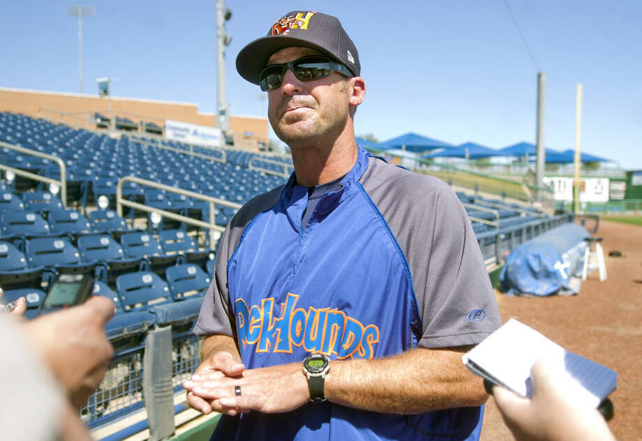 Rockhounds manager Ryan Christenson speaks to the media during RockHounds Media Day on Tuesday, April 7, 2015, at Security Bank Ballpark. James Durbin/Reporter-Telegram Photo: James Durbin