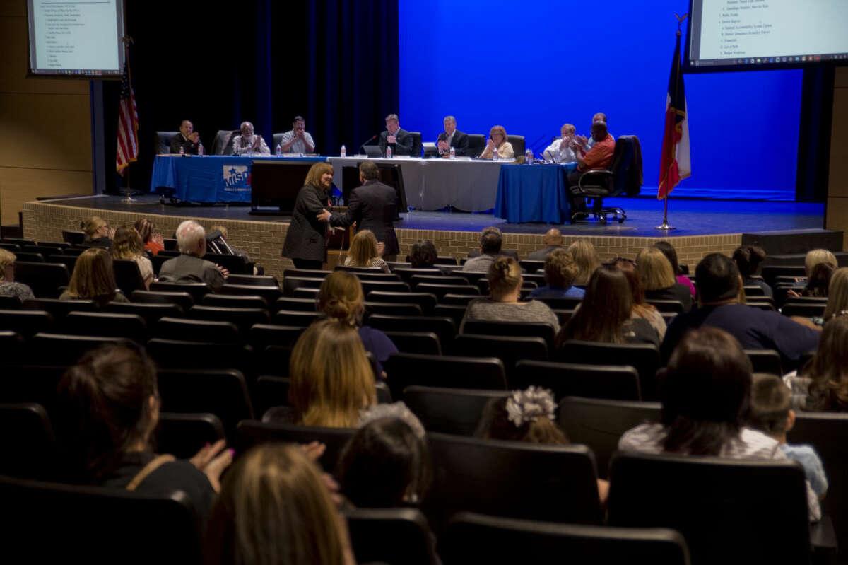 Midland ISD School Board members meet Monday 03-21-16 in the new auditorium at Bowie Fine Arts Academy. Tim Fischer\Reporter-Telegram