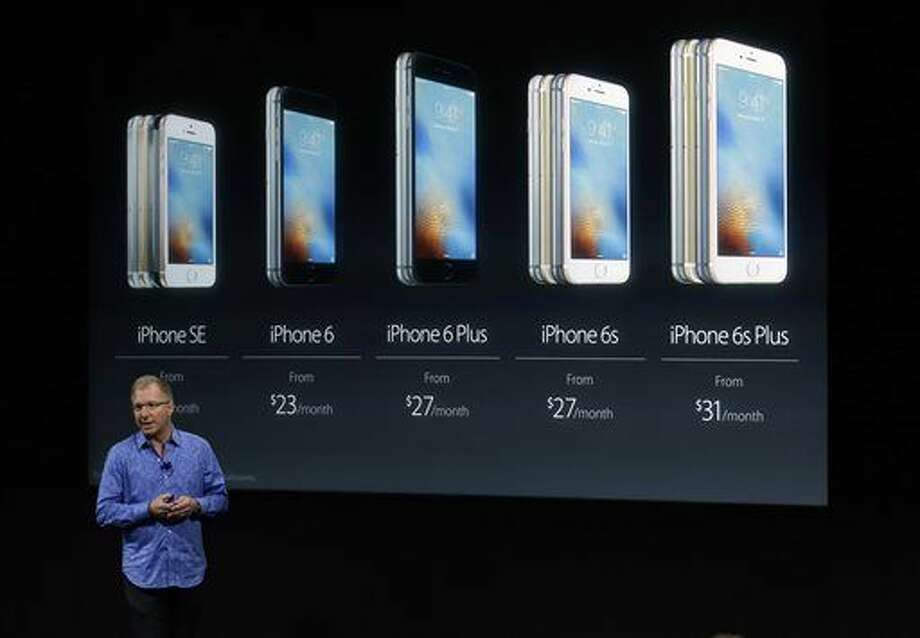 Greg Joswiak, vice president of iOS, iPad and iPhone product marketing, announces the new iPhone SE at Apple headquarters Monday, March 21, 2016, in Cupertino, Calif. (AP Photo/Marcio Jose Sanchez) Photo: Marcio Jose Sanchez