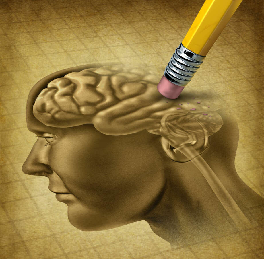 Dementia disease, schizophrenia, and a loss of brain function and losing memories as alzheimers as a medical health care symbol of neurology and mental problems with a pencil eraser removing the head anatomy on a grunge old parchment paper. Photo: The Houston Chronicle