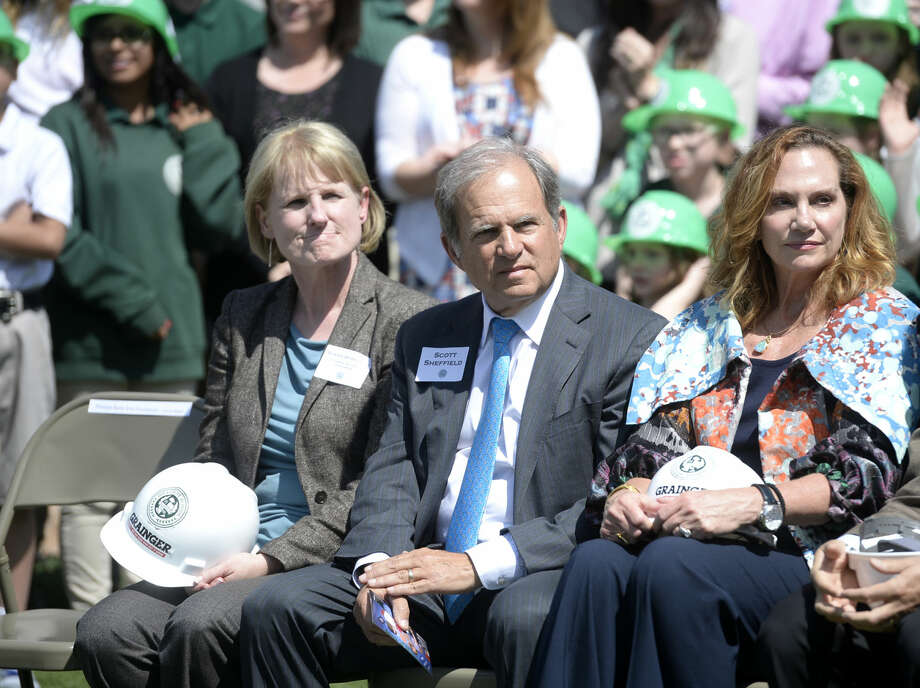 Susan Spratlen of Pioneer Natural Resources sits with Scott Sheffield, CEO of Pioneer Natural Resources, and his wife Kimberley, as donors, friends and family of the Hillcrest School gathered Thursday, March 17, 2016, to break ground on the school's new expansion. James Durbin/Reporter-Telegram Photo: James Durbin