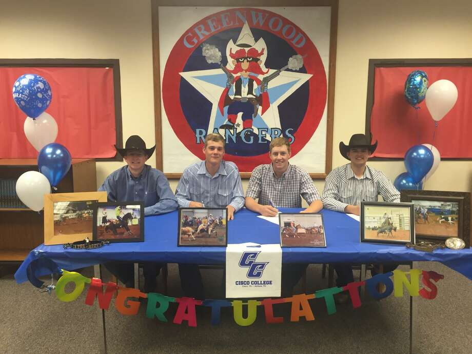 Greenwood seniors Kwentan Williamson, Cole Neagle, Justice Thompson and Hunter Sims signed their letter-of intent to rodeo for Cisco Junior College on Tuesday morning in front of family members, teachers and students and Greenwood High School.