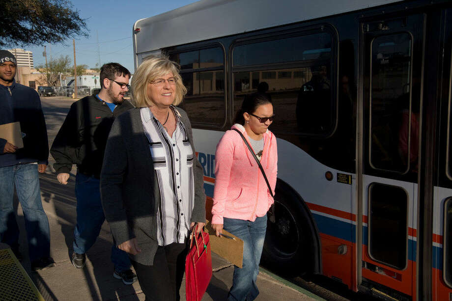 Lisa Etheredge, a Classroom Pioneer, takes her Life Skills class on the city bus Monday 03-21-16 as they head to the new HEB to comparison shop and tour the new store. Tim Fischer\Reporter-Tel­egram Photo:  Tim Fischer
