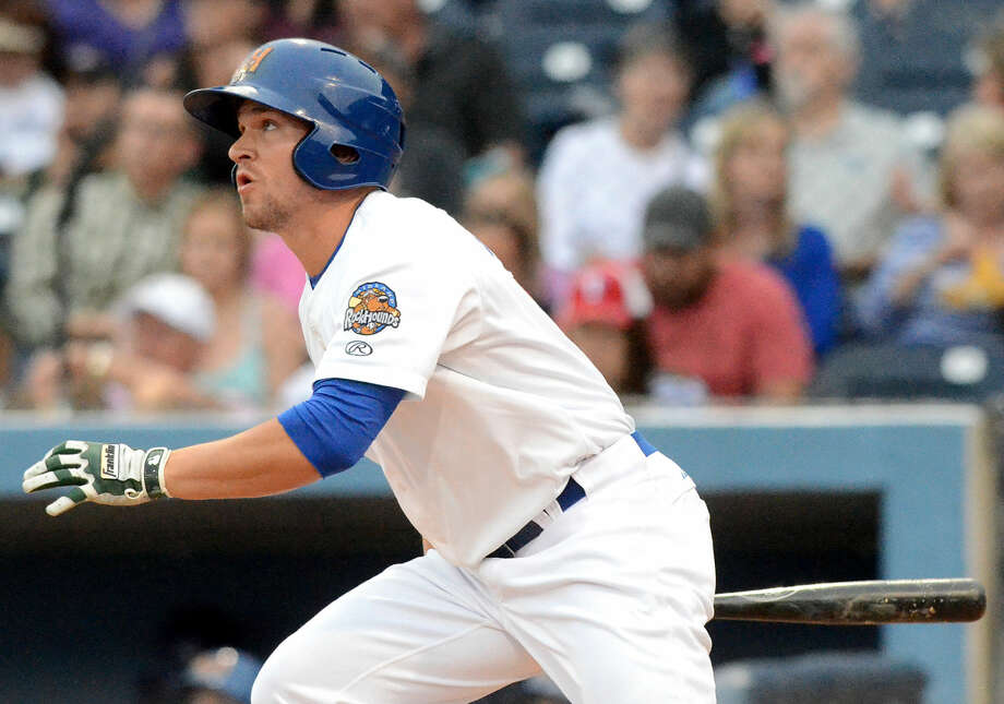 Rockhounds' Chad Oberacker hits against Northwest Arkansas during the season opener Thursday, April 9, 2015 at Security Bank Ballpark. James Durbin/Reporter-Telegram Photo: James Durbin